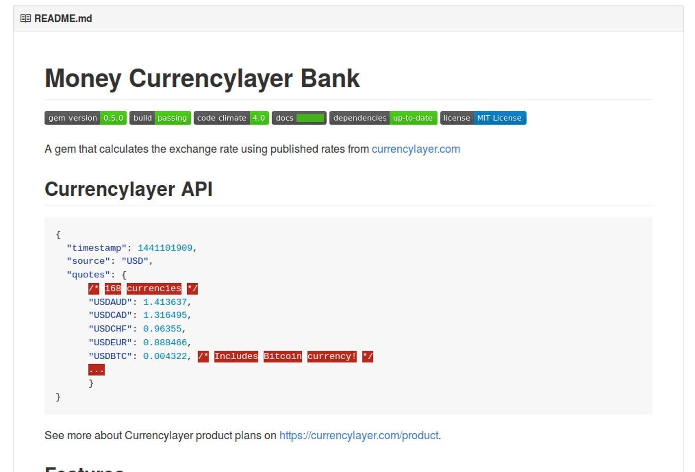 Published Money Currencylayer Bank